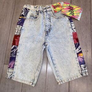 Vtg Jordache Denim Shorts Acid Wash Stone Blue Jean NEW 80s 90s NOS Kids Boys 8