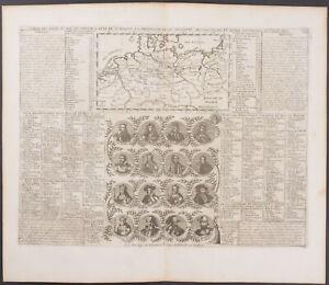 Chatelain - Map of Prussia & Portraits. 7-36 - 1718 Atlas Historique Engraving