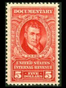 R676 REVENUE Documentary $5 Red LATE ISSUE Bibb Full Gum MNH SEE PHOTOS L-567