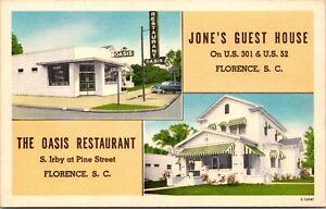 Linen Postcard Jone's Guest House Oasis Restaurant Florence, South Carolina~666