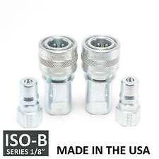 "2 Sets 1/8"" ISO-B Hydraulic Hose Quick Disconnect Couplers Plug - (ISO 7241-1 B)"
