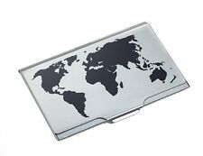 Troika BLACK/TITANIUM GLOBAL CONTACTS BUSINESS/NAME CARD CASE EMBOSSED WORLD MAP