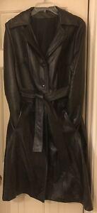 Women's Vintage 70's Black Leather Trench Coat, Sash Belt, Lined, Size 14