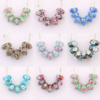 Hot! 5/20Pcs Murano Glass Lampwork Big Hole Beads Fit European Charm Bracelet