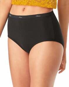Hanes Briefs 10-Pack Panties Women's Underwear Breathable 100% Cotton All Black