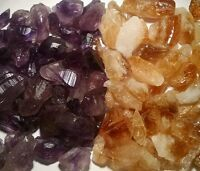 Amethyst / Citrine Points & Pieces mix1 Lb Lots Natural Gold & Purple Crystals