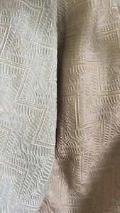 """Curtain Upholstery Jacquard ONLY £19.99 per M fabric 300cm/118"""" Beige&Vintage"""