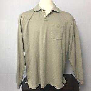 Van Heusen Mens Shirt Size XXL 2XL Tan Striped Button Down Long Sleeve Cotton