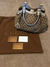 Gucci Medium Sukey Canvas GG Authentic Perfect Condition Cream Leather Trim