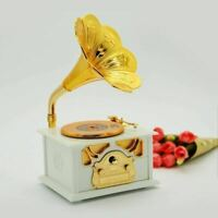 Classical Trumpet Horn Turntable Gramophone Art Disc Music Box makeup Case White