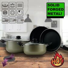 Logik 7 Piece Non-Stick Cookware Set Dutch Oven Fry Pan Tempered Glass Lids