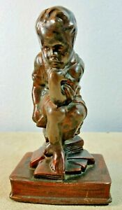 Vintage Thinker Cast Metal Bronze Finish Sitting Boy Iconic Pose Single Bookend