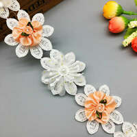 1yard Pink Flower Embroidered Lace Trim Ribbon Wedding Applique DIY Sewing Craft