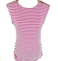 Michael Kors Women's Striped Top SZ PM Pink Boatneck Zippers Silver Accents NWT