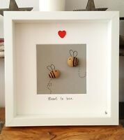 Meant to bee. hand crafted pebble art picture. 23cm frame