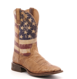 Ariat Men's Circuit Proud Distressed Brown and Flag Square Toe Western Boot SALE