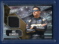 2018 ARIC ALMIROLA PANINI FATHER'S DAY CARD -  DRIVER WORN HAT PATCH WOW!
