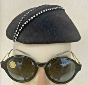 Vintage Moschino by Persol 80s Sunglasses Black Safety Pin Arms Orgadur Italy