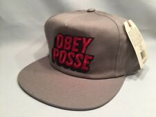OBEY POSSE GRAY & RED BOLD LETTERS SNAPBACK Cap Hat
