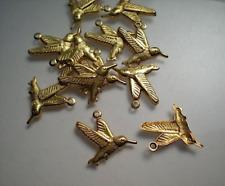 hummingbird charms 12 small brass