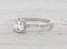 1.74 Ct Art Deco Style 100%GENUINE Diamond Engagement Ring  VS2 F PLATINUM