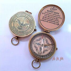 Antique Brass Lid Compass Vintage Desktop Collectible Item