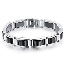 en acier inox Hématite Bracelet Argent Noir Femme Homme Power BIJOUX A005