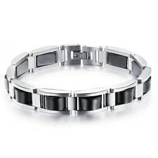 Edelstahl Hämatit Power Armband silber schwarz Damen Herren Energie Armreif A003