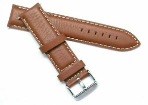20mm Brown Leather White Stitching Strap Silver, Gold,  Black Tone Buckle