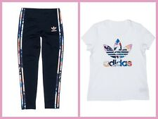 RARE adidas Originals GIRL'S FLORAL TREFOIL TEE & LEGGINGS - Size XS (UK 7-8)