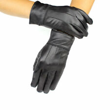 MENS BLACK REAL LEATHER GLOVES THERMAL LINED DRIVING WINTER MOBILE TOUCH GLOVES