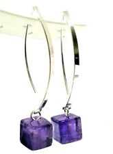"""NEW SOLID 925 Sterling Silver 3.80G Genuine Amethyst Dice Stick Earrings 1.77"""""""