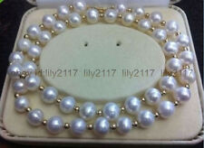 Beautiful AAA+ 8-9MM AKOYA WHITE NATURAL PEARL NECKLACE 18''