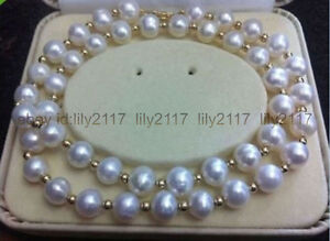 Beautiful AAA+ 8-9MM AKOYA WHITE NATURAL FRESHWATER PEARL NECKLACE 18''