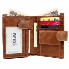 Large Capacity Genuine Leather Mens Trifold Wallet RFID Blocking Anti Scan Zip