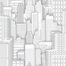 Cityscape / Big City Sketched For Spiderman Sure Strip Wallpaper ZB3268