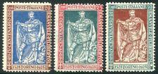 1928 Italia Regno Filiberto serie 3 valori dent. 13 3/4 nuovi cert. **