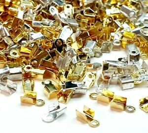 150 ASSORTED CRIMP ENDS SILVER GOLD MIX JEWELLERY MAKING CORD ENDS CRIMPS