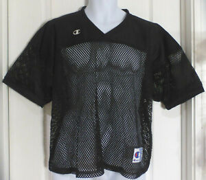 CHAMPION Authentic Mens V-Neck Mesh Football Jersey, Black, Size L/XL, NWOT