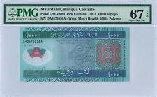 Mauritania 1000 Ouguiya 2014 PMG 67 EPQ s/n DA3475856A Polymer