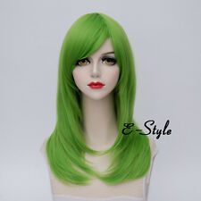 Basic 55CM Light Green Long Curly Fashion Women Girls Ombre Cosplay Party Wig