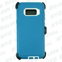 For Samsung Galaxy S8 Rugged Defender Case w/ Clip Fits Otterbox Cyan White