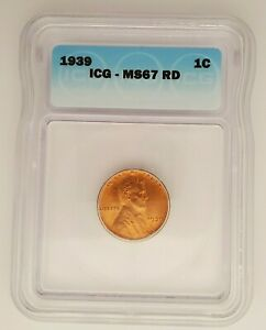 1939 Lincoln Cent ICG MS67 RD Red  *Rev Tye's Coin Stache* #050150