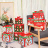 3pcs/Set Christmas Eve Gift Box Large Xmas Present Wrapping Boxes Red Ribbon Lid