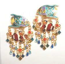 Lunch at the Ritz Two Tropical Fish & Crystal Rhinestone Reef Post Earrings