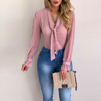 Women's V-neck Top Long Sleeve Ladies Tie Button Casual Office Work Shirt Blouse