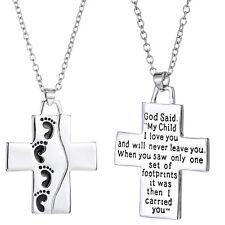 Fashion Silver Cross Pendant Necklace Footprints Prayer Christian Souvenir