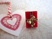 Geschenk - Vintage Brosche Weihnachten PIN goldfarben heart Geschenk Pin