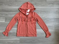 Evy's Tree Zip Up Sweater Size XS Ruffle Orange Cotton Casual Hooded NWT