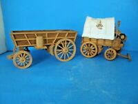 VINTAGE LOT OF 2 HANDCRAFTED WOOD PULL CART TOY FARM  WAGONS